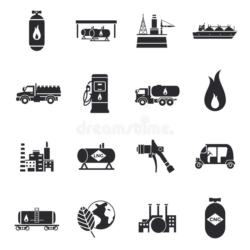Compressed And Liquid Natural Gas Icons. With truck factory station cylinder tank flammable sign vector illustration vector illustration