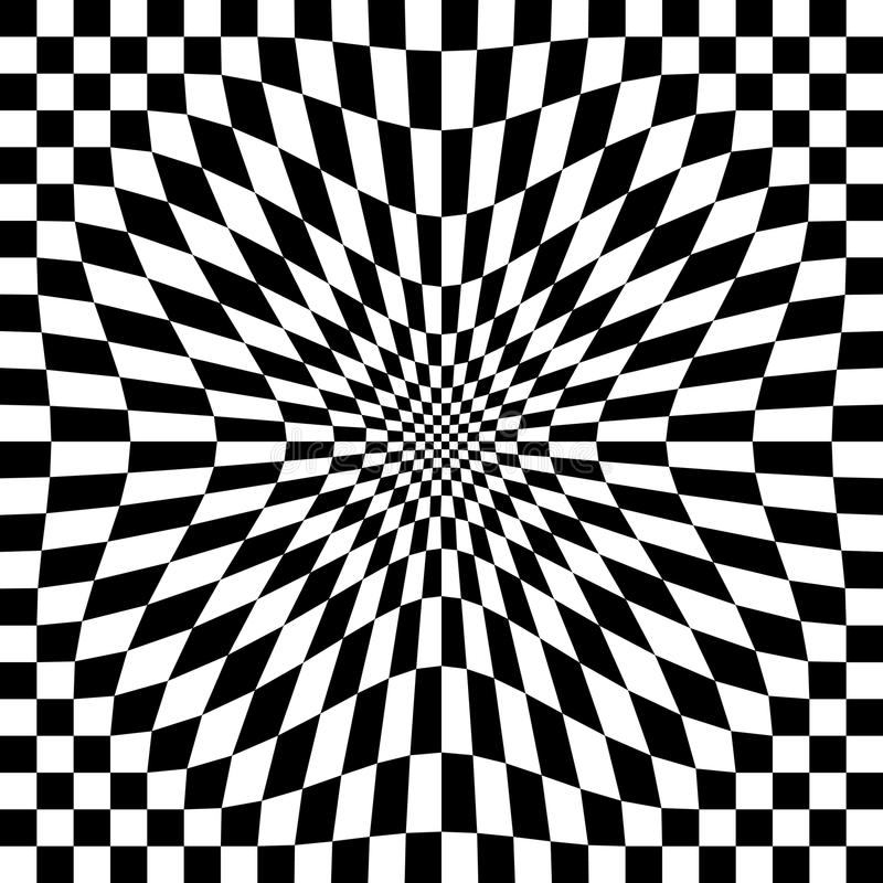 Compressed Optical Check. Compressed checkerboard pattern in black and white repeats seamlessly stock illustration
