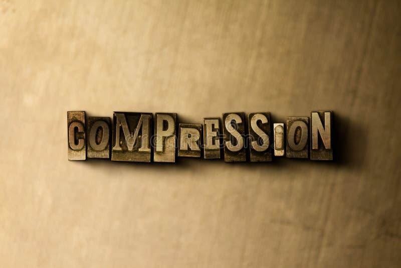 COMPRESSIE - close-up van grungy wijnoogst gezet woord op metaalachtergrond stock illustratie
