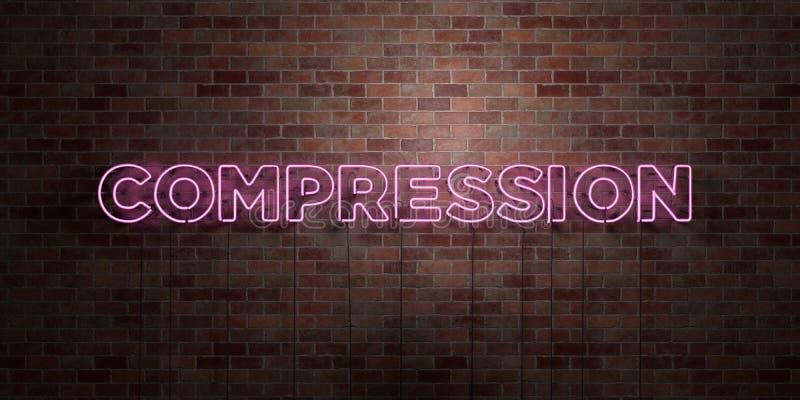 COMPRESSIE - fluorescent T.L.-buisteken op metselwerk - vooraanzicht - 3D teruggegeven royalty vrij voorraadbeeld vector illustratie