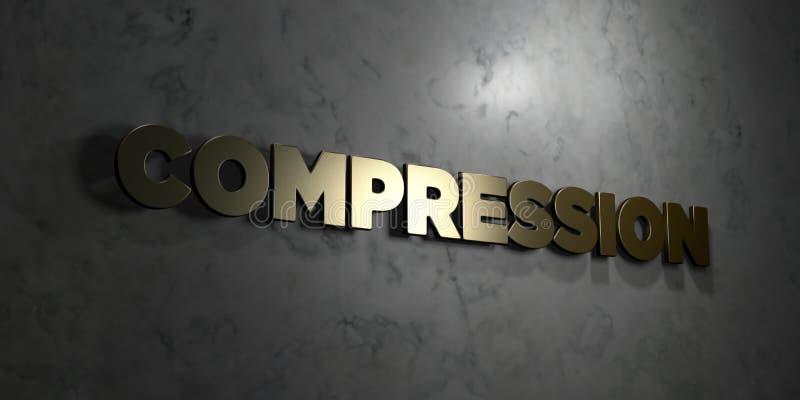 Compressie - Gouden tekst op zwarte achtergrond - 3D teruggegeven royalty vrij voorraadbeeld vector illustratie