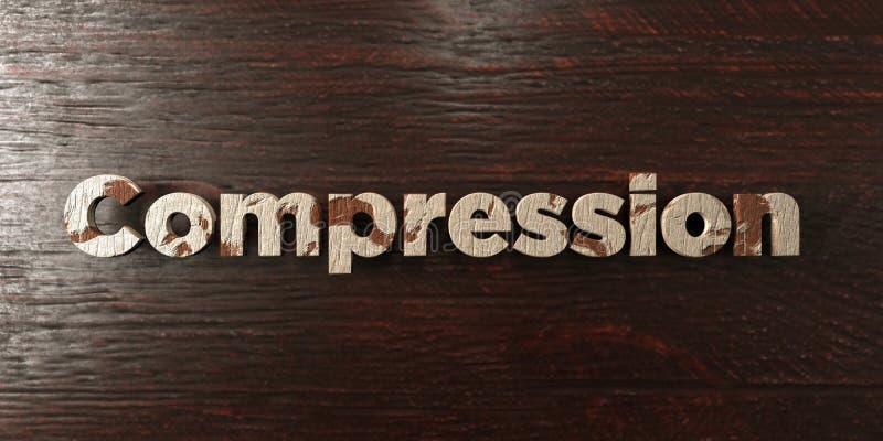 Compressie - grungy houten krantekop op Esdoorn - 3D teruggegeven royalty vrij voorraadbeeld stock illustratie