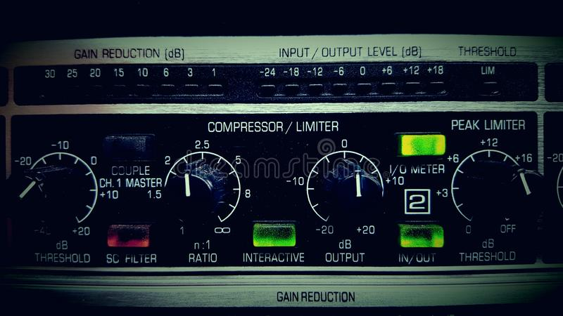 A compressor. A rack mounted audio compressor limiter royalty free stock photography