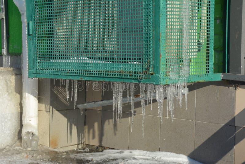 Compressore industriale del condizionatore d'aria in ghiaccio fotografia stock