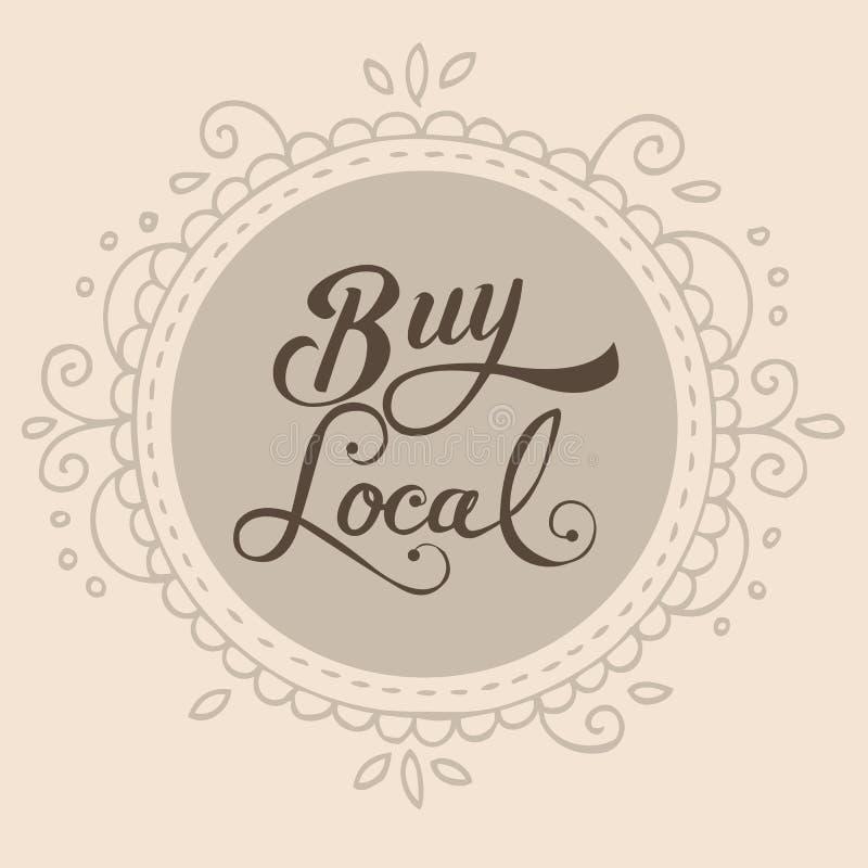 Compri l'etichetta locale del distintivo di simbolo del segno del testo illustrazione di stock