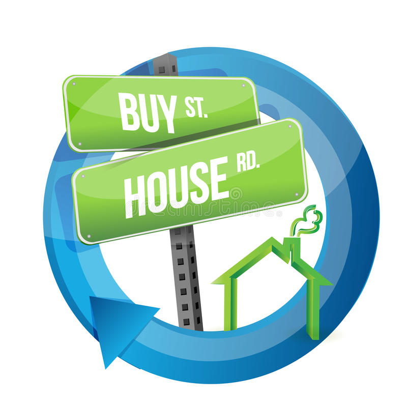 Compri la casa simbolo reale della strada rurale illustrazione di stock