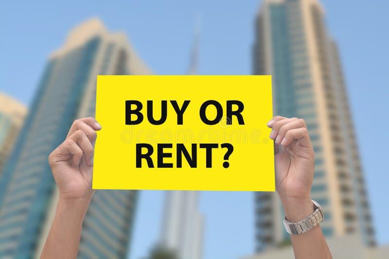 Compri o affitti il segno della proprietà a disposizione immagine stock libera da diritti