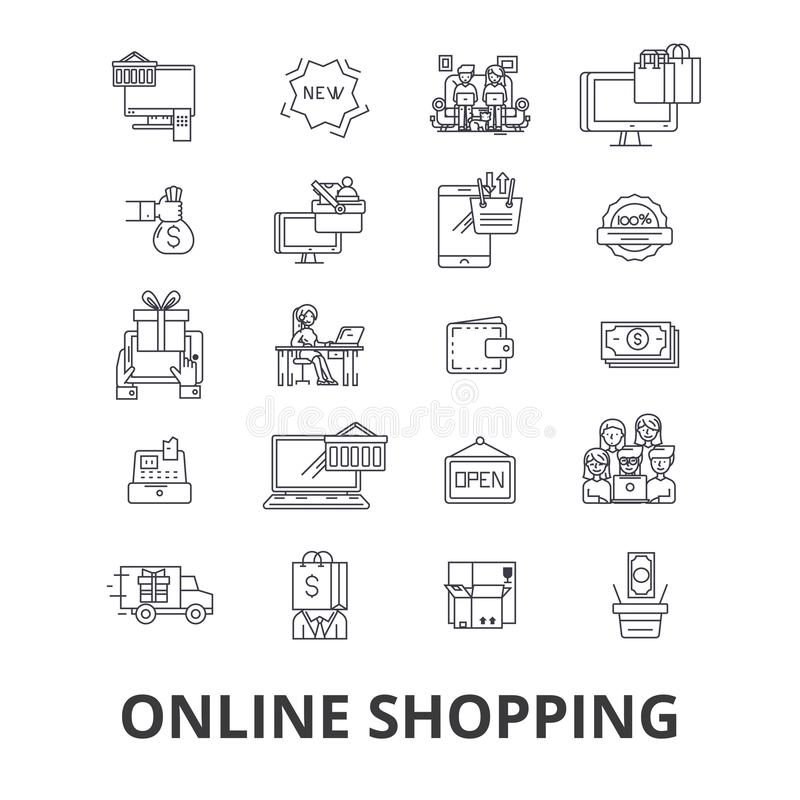 Compri online, comperando, deposito di Internet, il commercio elettronico, il carretto, l'ordine, la linea al minuto mobile icone illustrazione vettoriale
