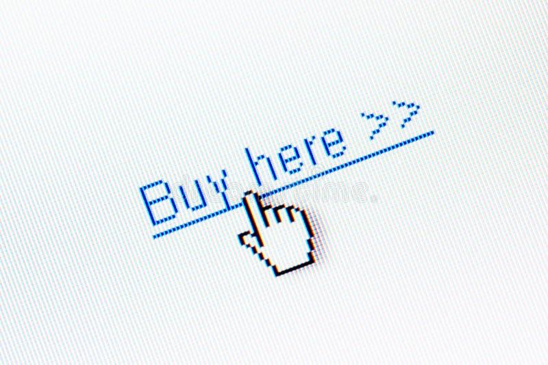 Compri qui il collegamento fotografie stock libere da diritti