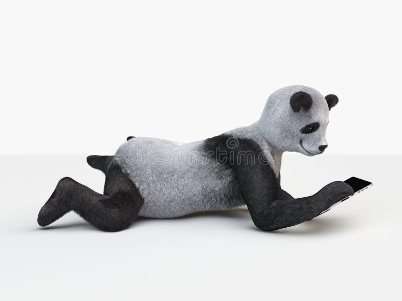 Comprimé électronique de panda pelucheux de caractère de personnalité de vue de côté s'étendant au fond blanc illustration libre de droits