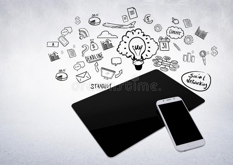comprimé 3D et téléphone sur le fond blanc avec des illustrations de graphique de gestion illustration libre de droits