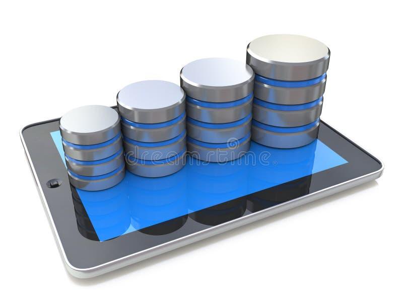 Comprimé de Digital et croissance de base de données sur le fond blanc illustration de vecteur