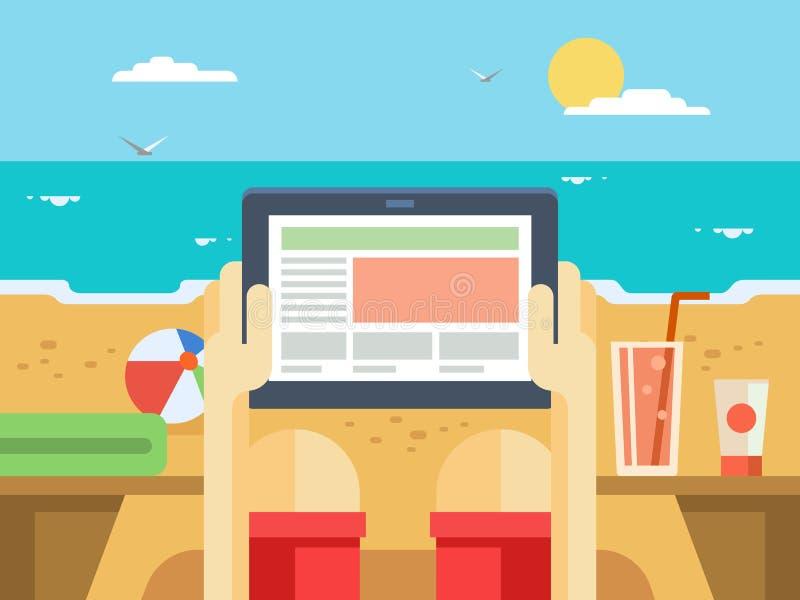 Comprimé de Digital sur la plage illustration stock