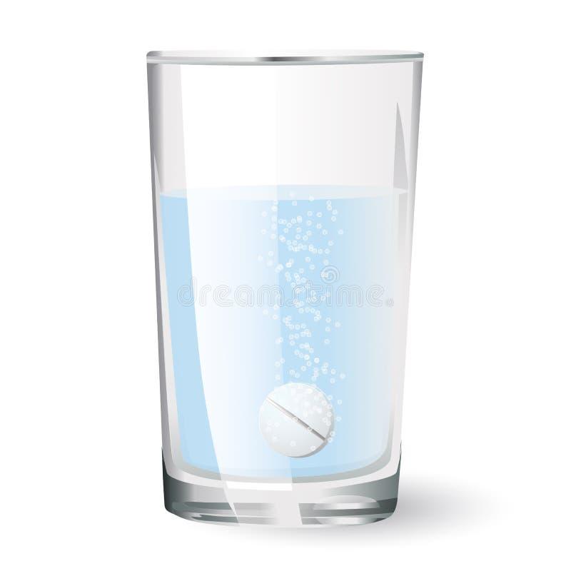 Comprimé effervescent en verre illustration de vecteur