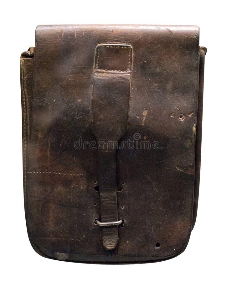 Comprimé en cuir de soldat d'isolement sur le fond blanc temps en cuir de soldat de comprimé de la deuxième guerre mondiale image libre de droits