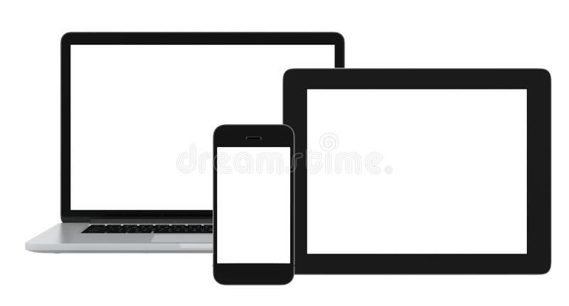 Comprimé et ordinateur portable vides de téléphone sur le fond blanc illustration de vecteur