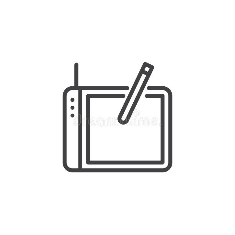 Comprimé graphique de concepteurs et ligne icône de stylo illustration stock