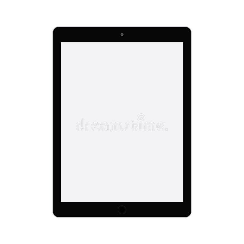 Comprimé noir avec l'écran gris Vecteur plat eps10 de style de Tablette Tablette avec le vecteur gris vide d'icône d'écran illustration libre de droits