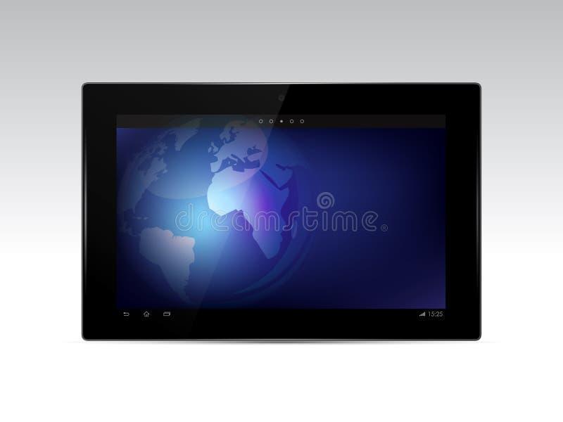 Comprimé noir avec le globe de la terre sur l'écran illustration libre de droits