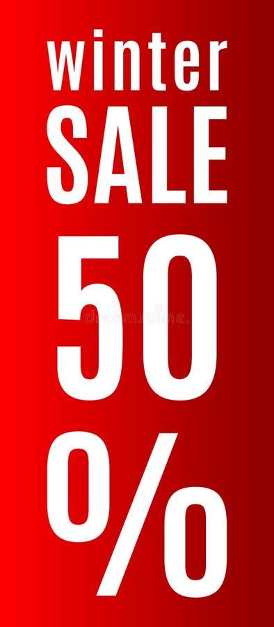 Comprimé rouge avec une inscription indiquant le discou de vente d'hiver illustration stock