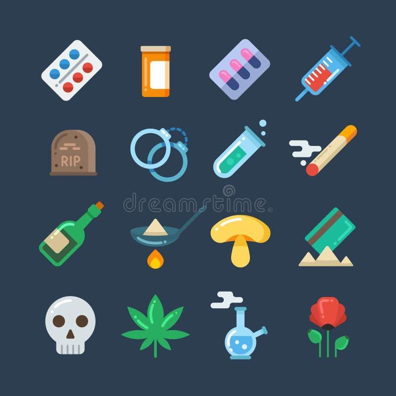 Comprimés de drogue illégale, alcoolisme, icônes plates de vecteur d'abus de methamphetamine illustration de vecteur