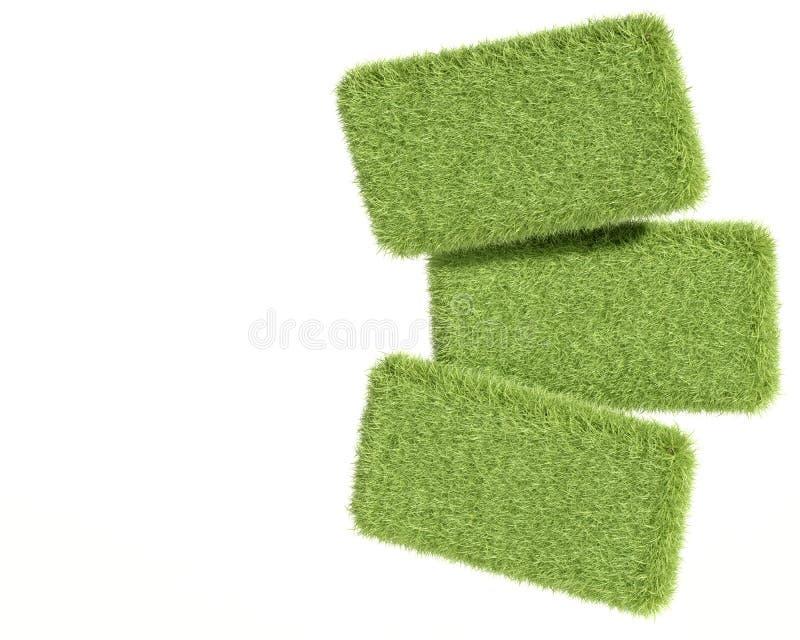 comprimés de l'herbe 3d verte illustration stock