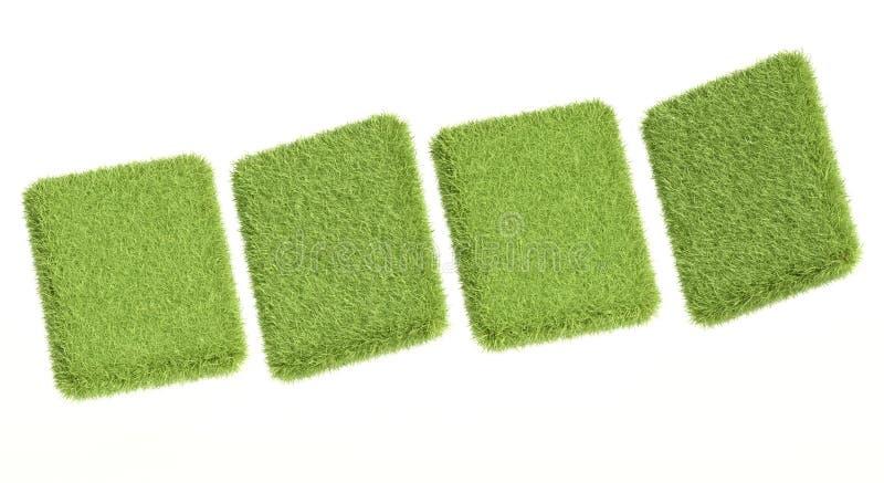 comprimés de l'herbe 3d verte sur le blanc illustration stock