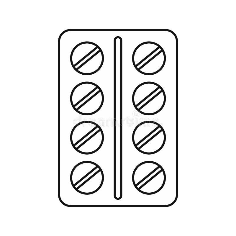 Comprimés ronds dans une icône de boursouflure, style d'ensemble illustration libre de droits
