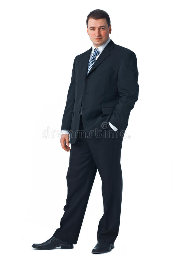 Comprimento cheio de um homem de negócio novo confiável imagens de stock