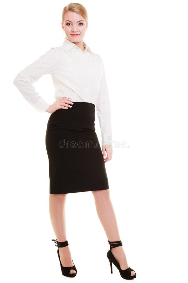 Comprimento completo da mulher de negócios loura nova isolada no branco foto de stock royalty free