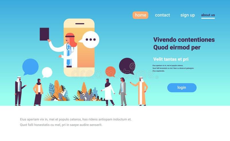 Comprimento completo do conceito em linha médico móvel árabe dos cuidados médicos do ícone do perfil da consulta da aplicação da  ilustração stock