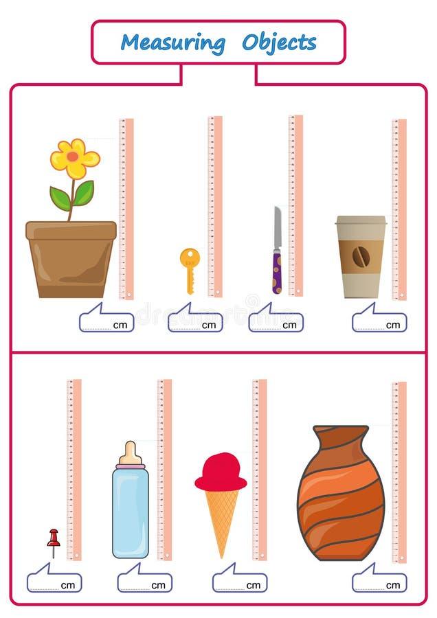 Comprimento de medição dos objetos com régua, folha para crianças, folhas da prática, atividades da matemática ilustração royalty free