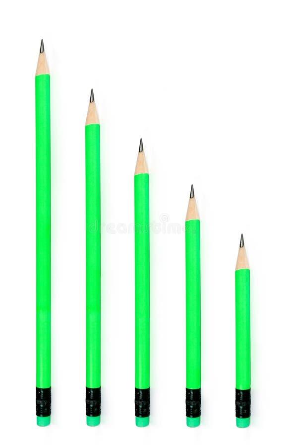 Comprimento dos lápis de ligação vário fotos de stock