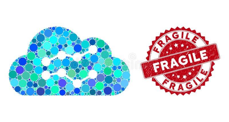 Comprimi grafici cloud con timbro di grunge fragile royalty illustrazione gratis