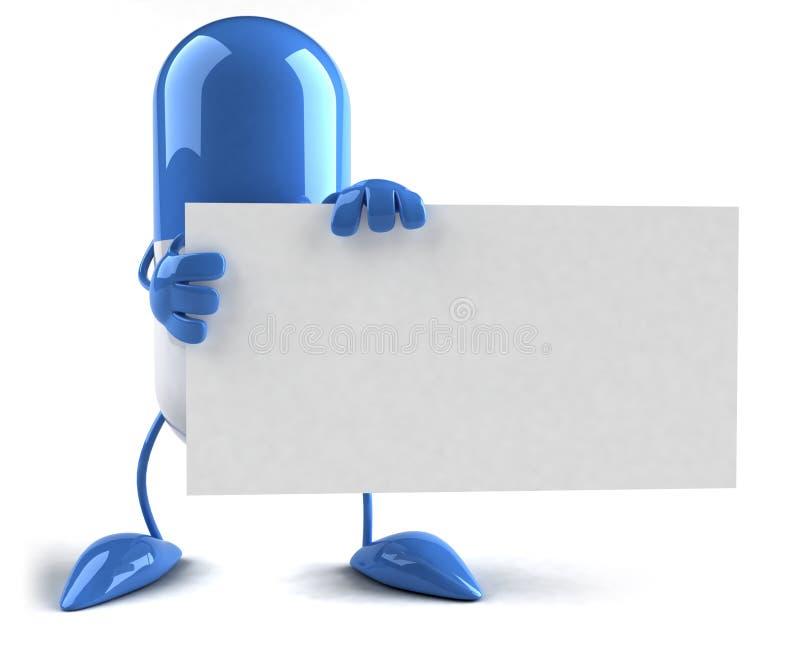 Comprimido com um sinal em branco ilustração do vetor