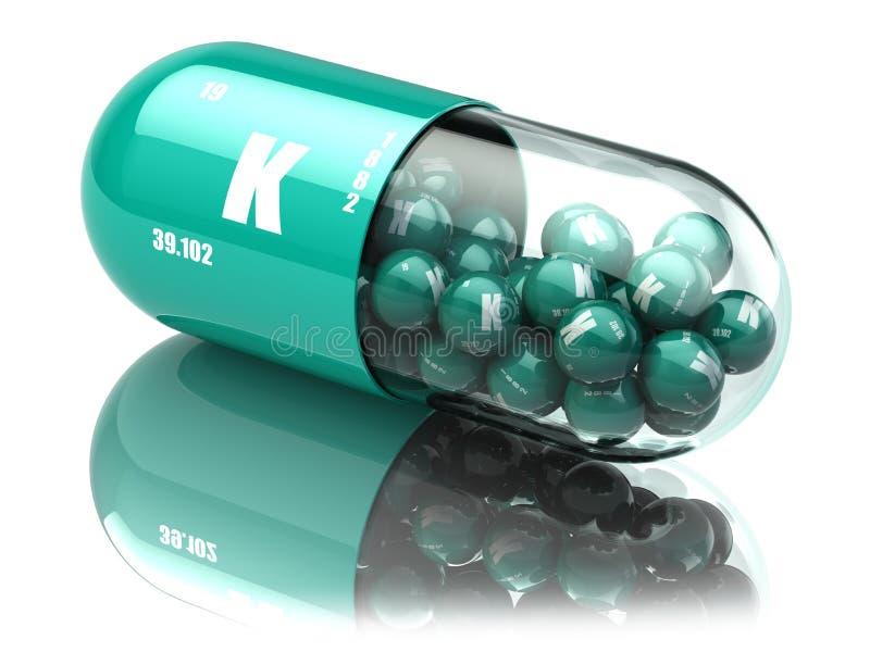 Comprimido do elemento do potássio K Suplementos dietéticos Cápsulas da vitamina ilustração royalty free