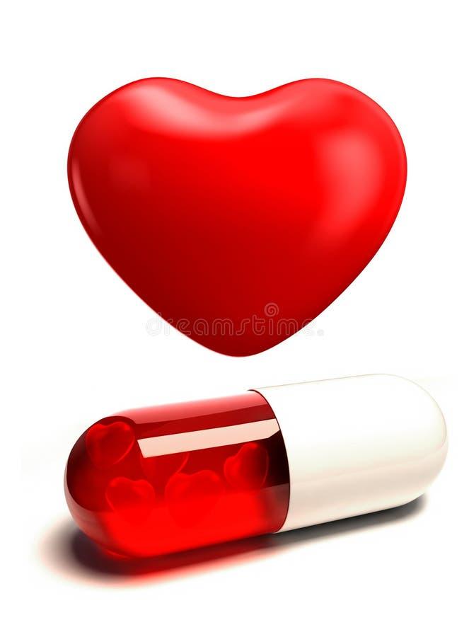Comprimido e coração vermelhos da cápsula ilustração royalty free