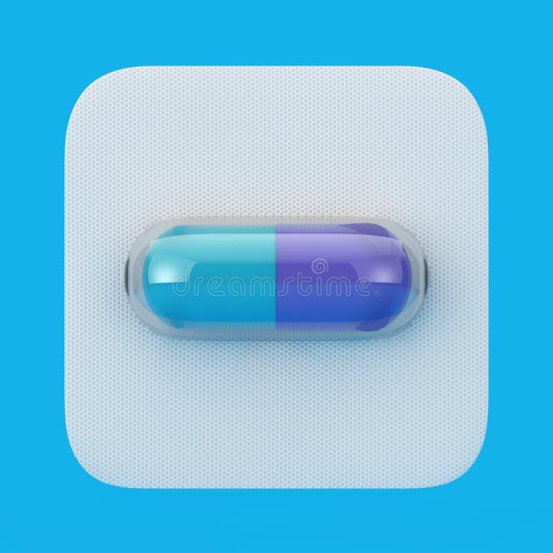Comprimido médico da cápsula da droga na bolha rendição 3d ilustração stock