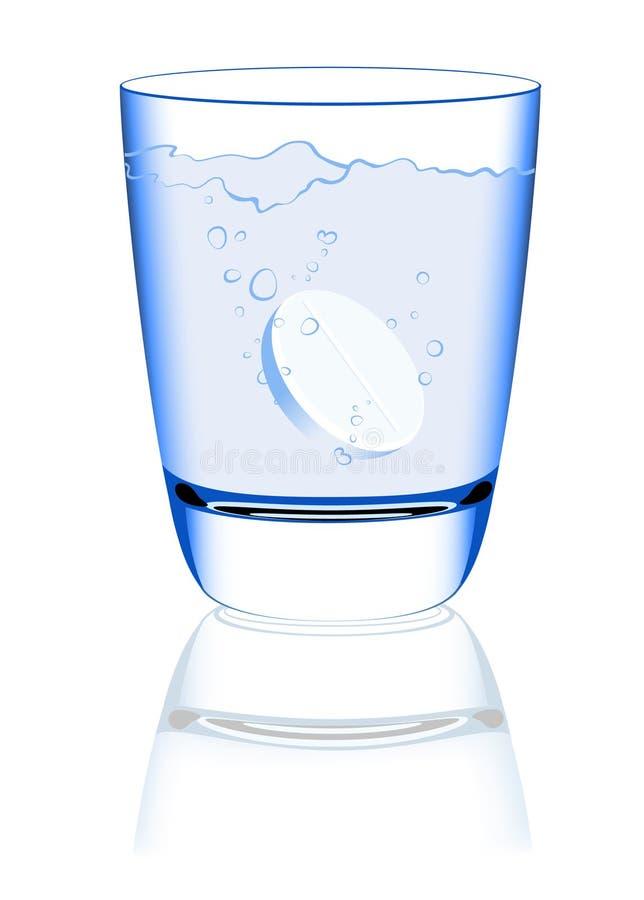 Comprimido na água ilustração stock
