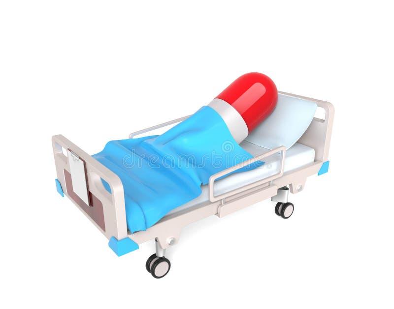 Comprimido na cama médica ilustração royalty free