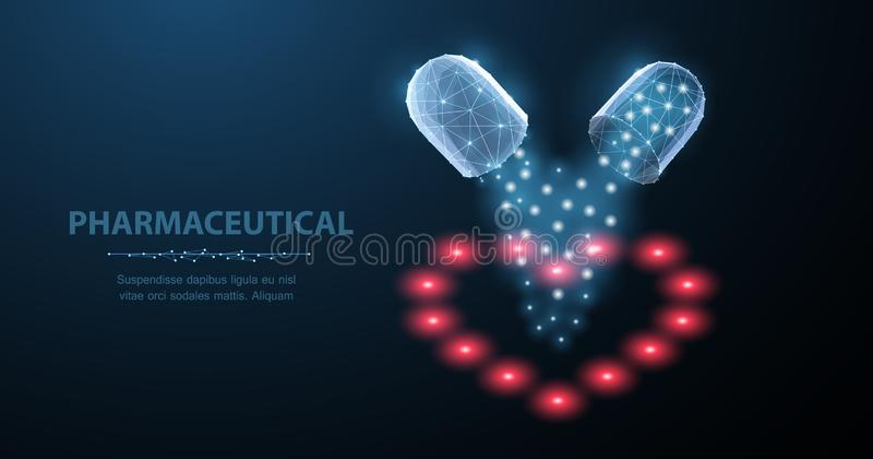 Comprimidos Comprimidos abertos da cápsula do sumário dois com as estrelas do fallind no azul ilustração do vetor