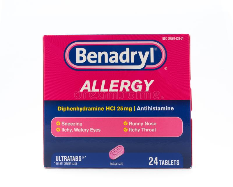 Comprimidos alérgicos a Benadril foto de stock royalty free