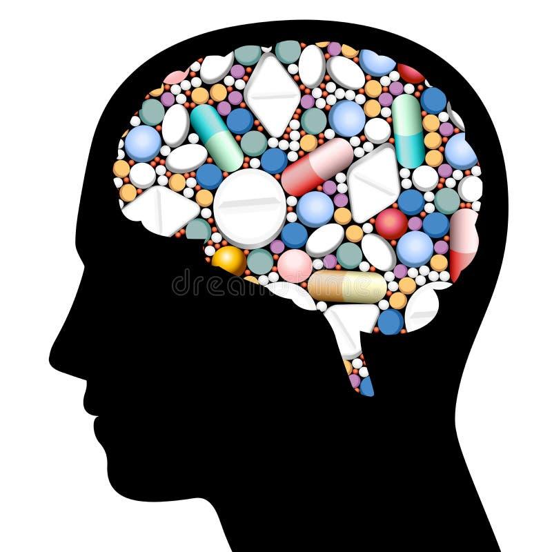 Comprimidos Brain Head ilustração royalty free