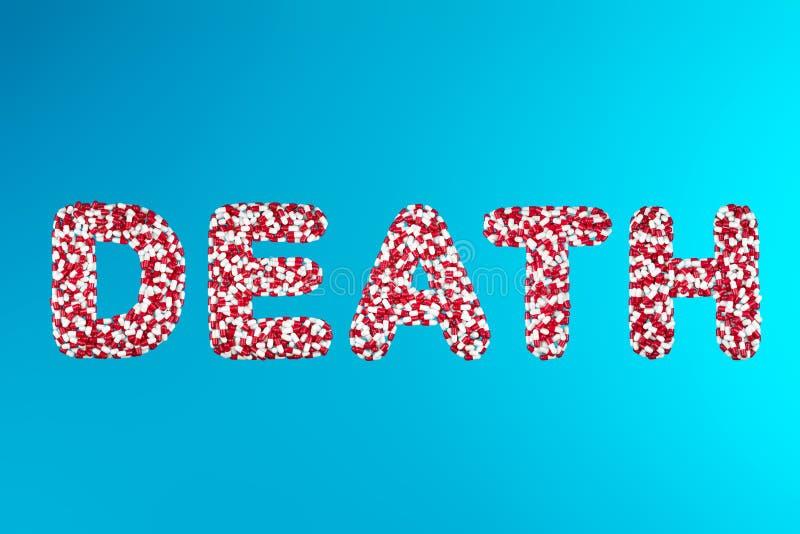 Comprimidos brancos e vermelhos da morte da inscrição em um fundo azul imagem de stock