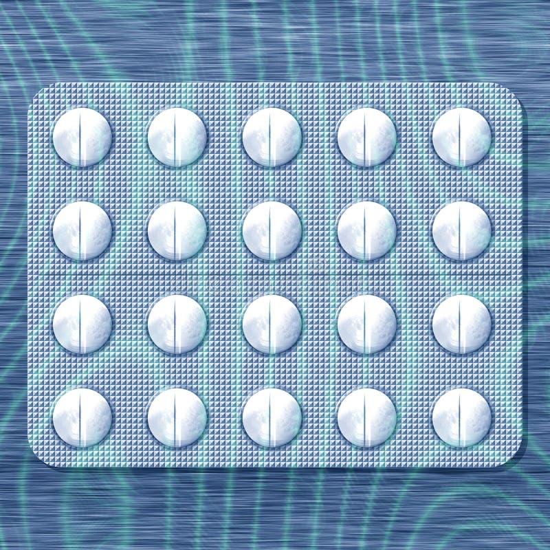 Comprimidos brancos em acalmar a luz de fluência azul ilustração royalty free