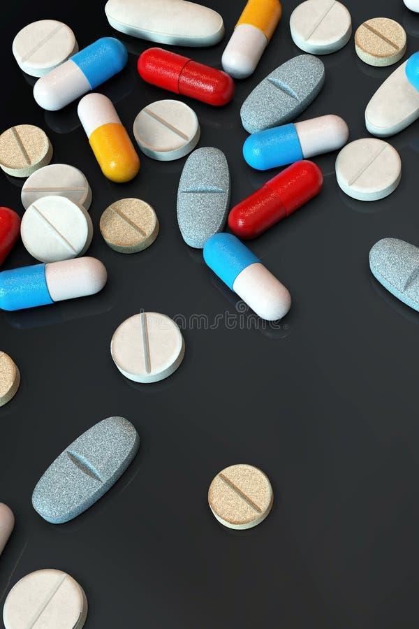 Comprimidos coloridos da medicina no fundo escuro, vertical foto de stock royalty free