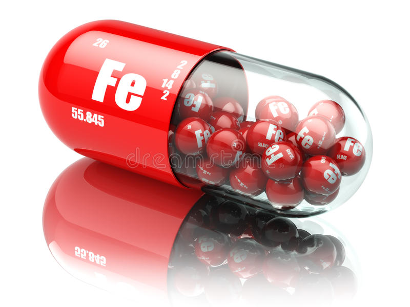 Comprimidos com suplementos dietéticos ao elemento do FE do ferro Cápsulas da vitamina ilustração do vetor