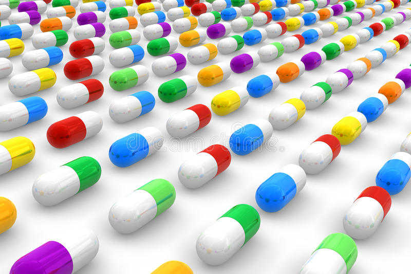 Comprimidos da cor ilustração do vetor