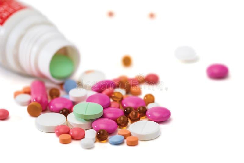 Comprimidos da dor da medicamentação da prescrição e frasco da droga fotografia de stock