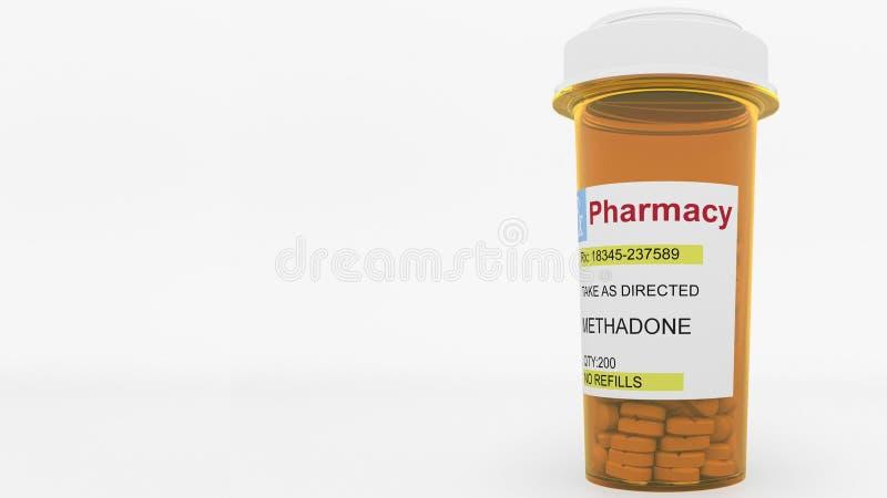 Comprimidos da droga genérica da METADONA em uma garrafa da prescrição Rendição 3d conceptual ilustração do vetor